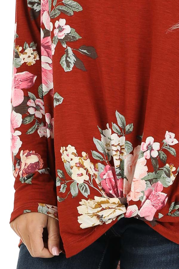 Burnt Orange Floral Print Long Sleeve Top with Twisted Front detail