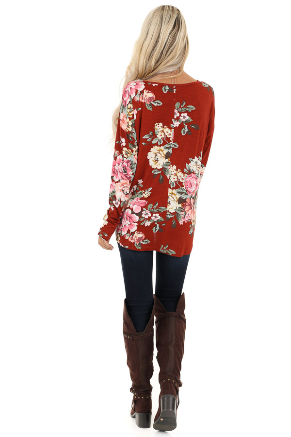 Burnt Orange Floral Print Long Sleeve Top with Twisted Front back full body