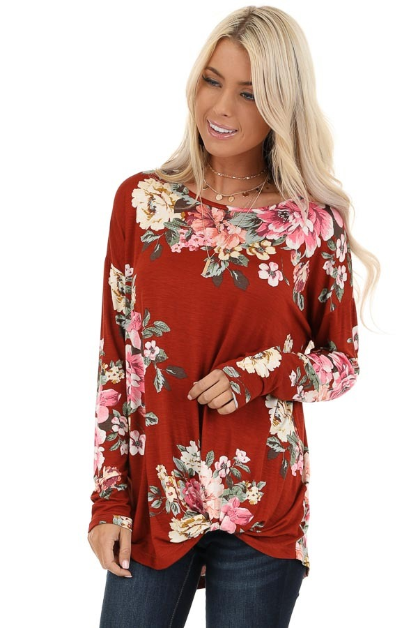 Burnt Orange Floral Print Long Sleeve Top with Twisted Front front close up