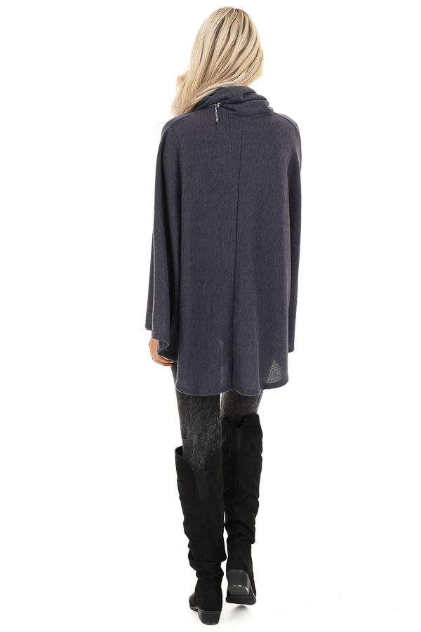 Charcoal Brushed Knit Loose Poncho Top with Cowl Neckline back full body