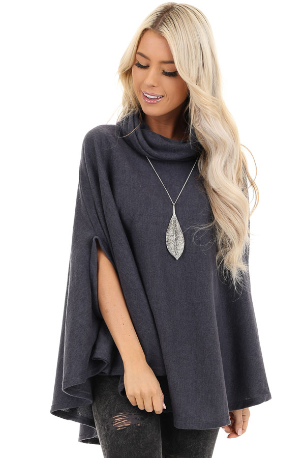 Charcoal Brushed Knit Loose Poncho Top with Cowl Neckline front close up