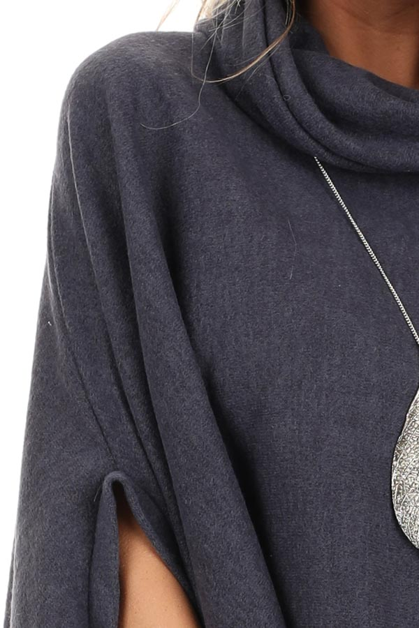 Charcoal Brushed Knit Loose Poncho Top with Cowl Neckline detail