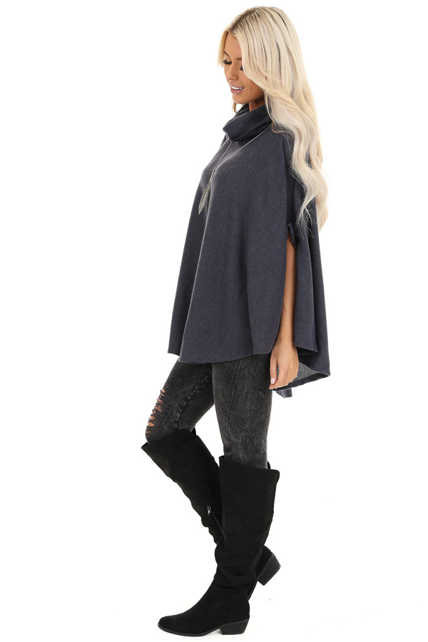 Charcoal Brushed Knit Loose Poncho Top with Cowl Neckline side full body
