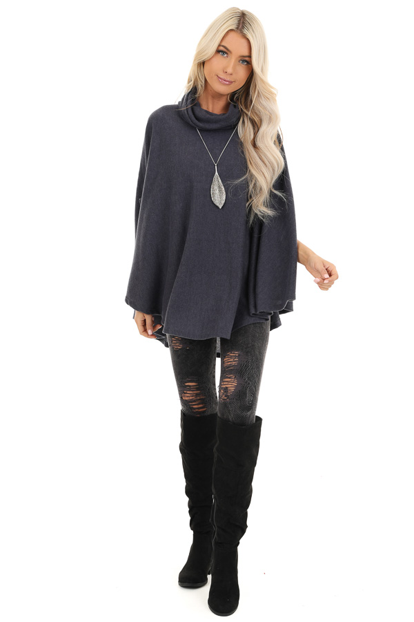 Charcoal Brushed Knit Loose Poncho Top with Cowl Neckline front full body