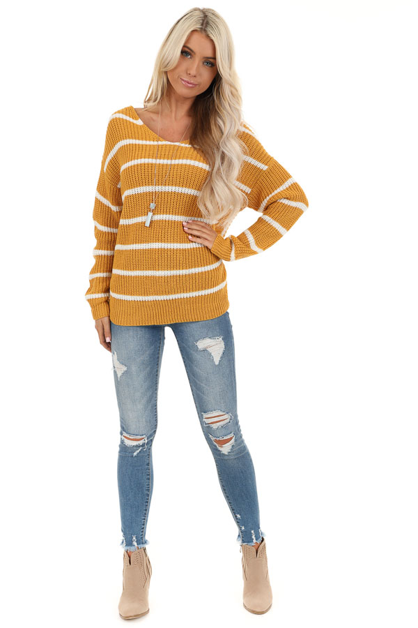 Mustard and White Striped Sweater Top with Back Twist Detail front full body