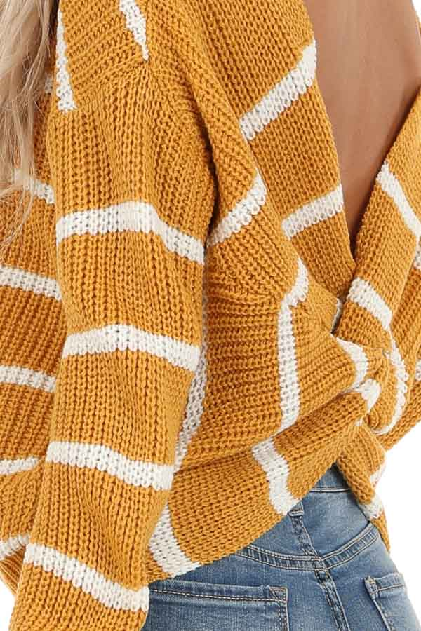 Mustard and White Striped Sweater Top with Back Twist Detail detail