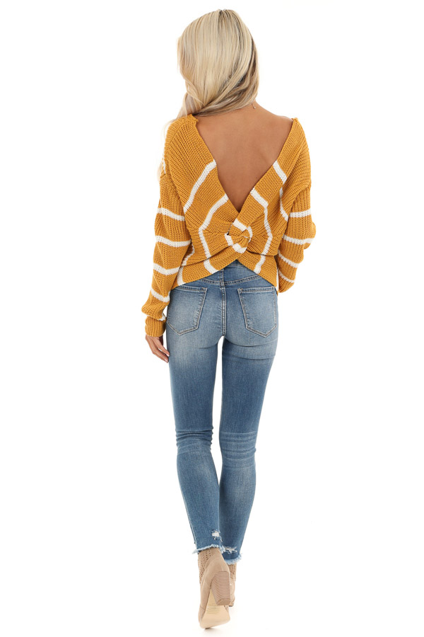Mustard and White Striped Sweater Top with Back Twist Detail back full body