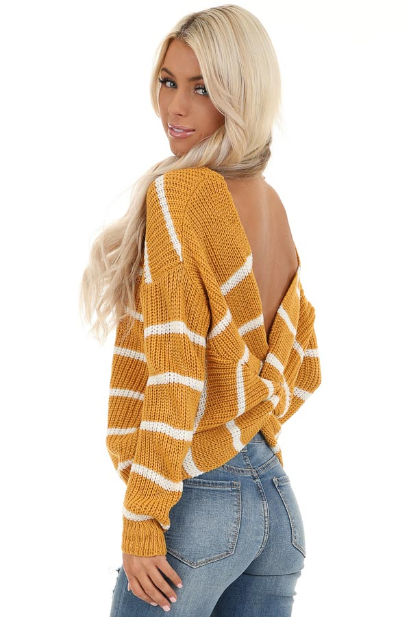 Mustard and White Striped Sweater Top with Back Twist Detail back side close up