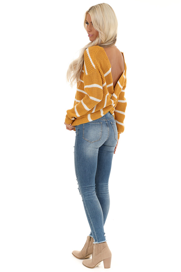 Mustard and White Striped Sweater Top with Back Twist Detail side full body