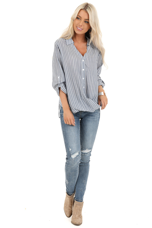 Slate Grey Stripe 3/4 Sleeve Button Up Top with Twist Detail front full body