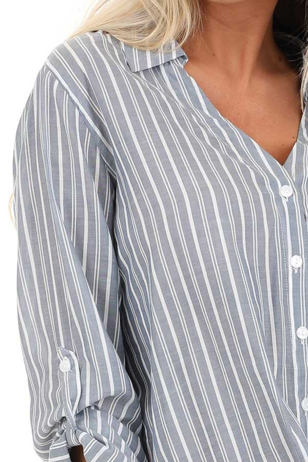 Slate Grey Stripe 3/4 Sleeve Button Up Top with Twist Detail detail
