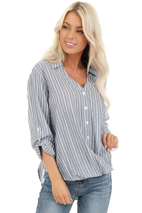 Slate Grey Stripe 3/4 Sleeve Button Up Top with Twist Detail front close up