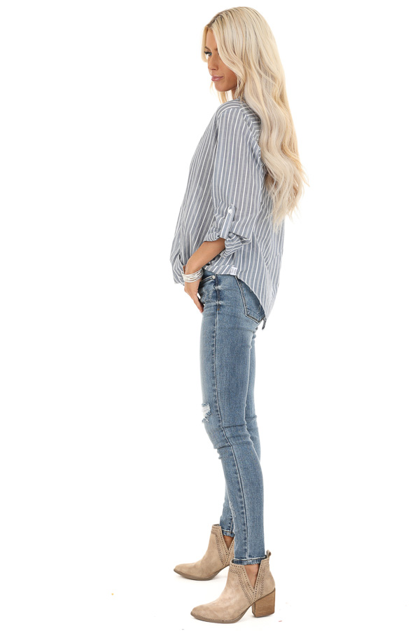 Slate Grey Stripe 3/4 Sleeve Button Up Top with Twist Detail side full body