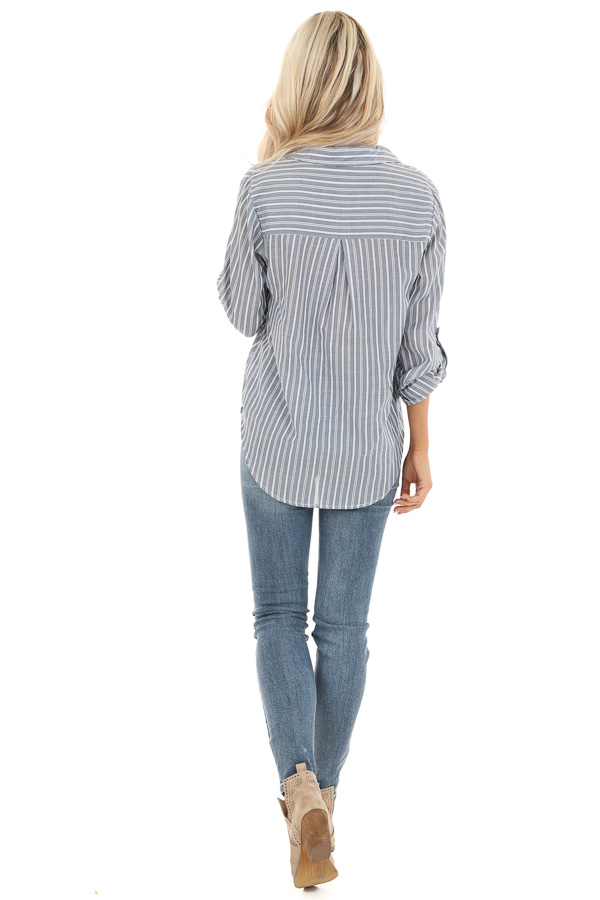Slate Grey Stripe 3/4 Sleeve Button Up Top with Twist Detail back full body