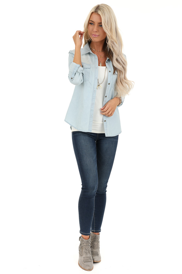 Light Wash Denim Button Up Top with Chest Pockets front full body