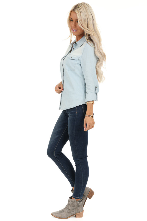 Light Wash Denim Button Up Top with Chest Pockets side full body