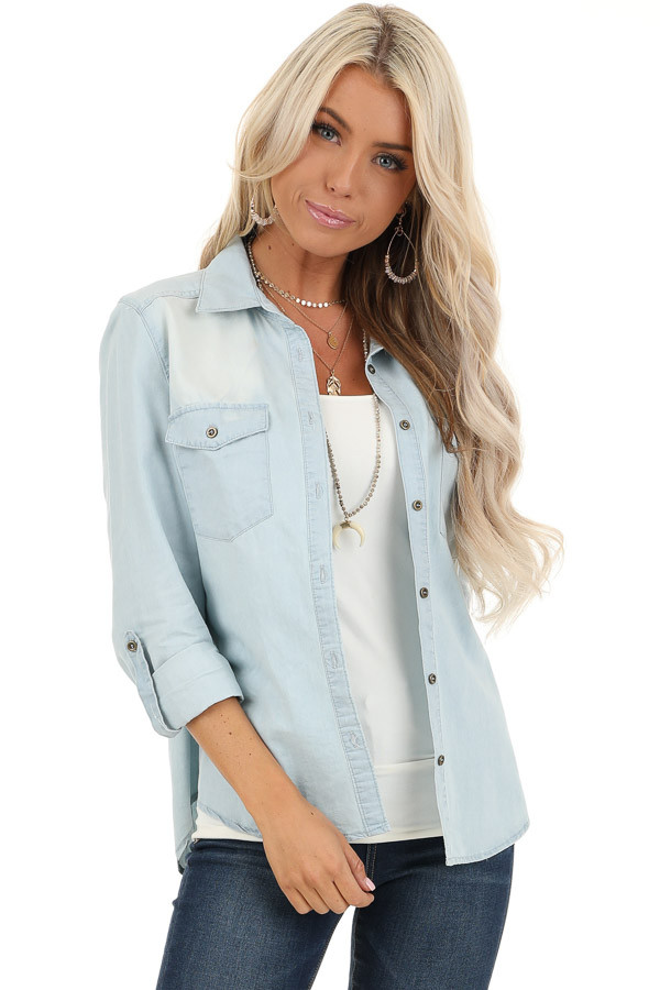 Light Wash Denim Button Up Top with Chest Pockets front close up