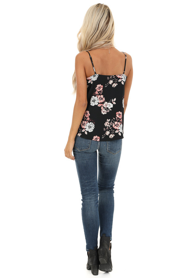 Obsidian Black Floral Print Tank Top with Buttons and Tie back full body