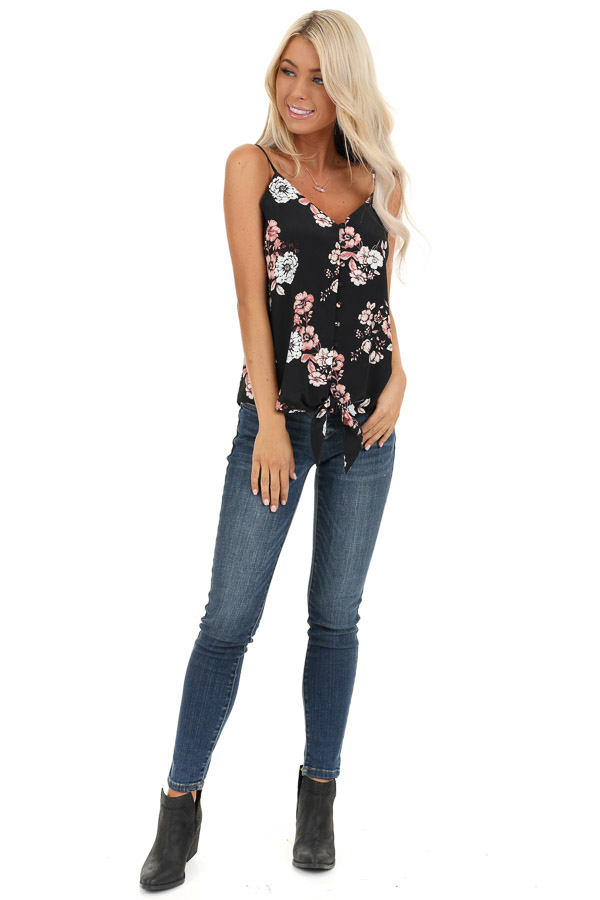 Obsidian Black Floral Print Tank Top with Buttons and Tie front full body