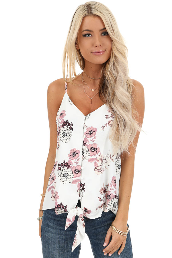 Daisy White Floral Print Tank Top with Buttons and Tie front close up