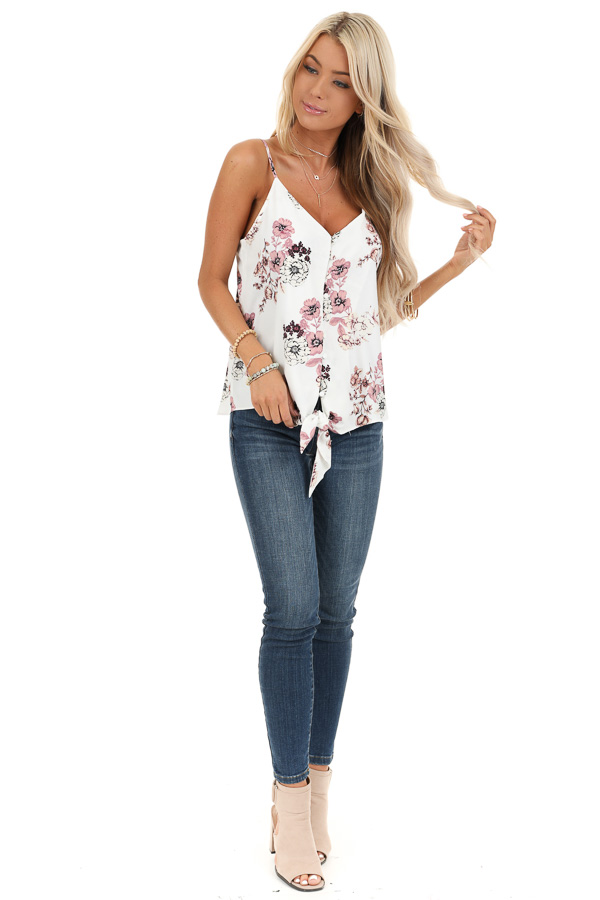 Daisy White Floral Print Tank Top with Buttons and Tie front full body
