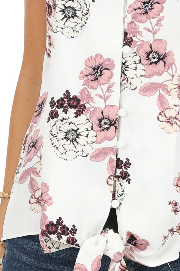 Daisy White Floral Print Tank Top with Buttons and Tie detail