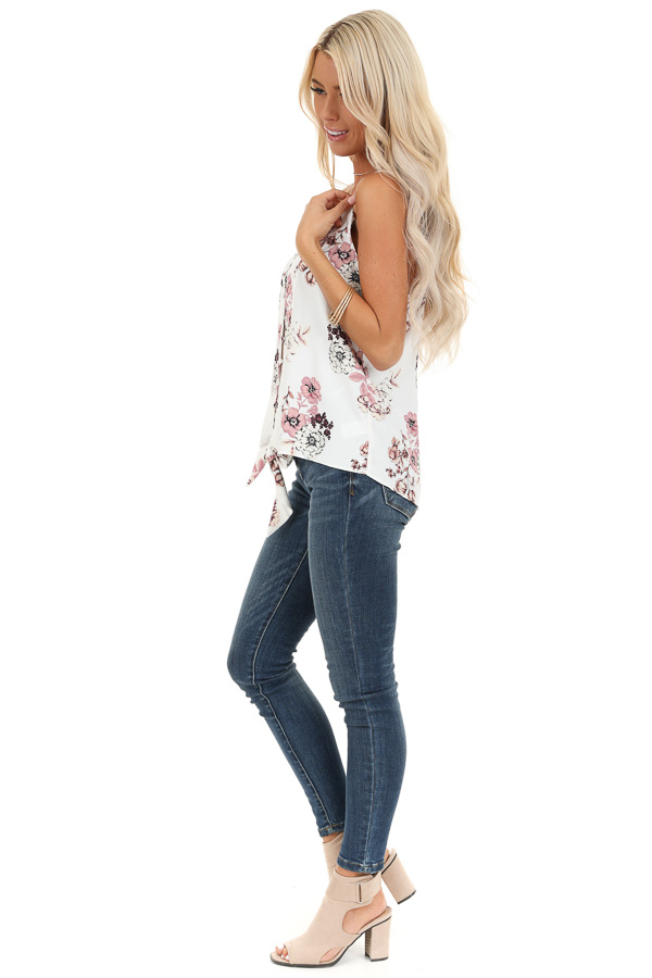 Daisy White Floral Print Tank Top with Buttons and Tie side full body