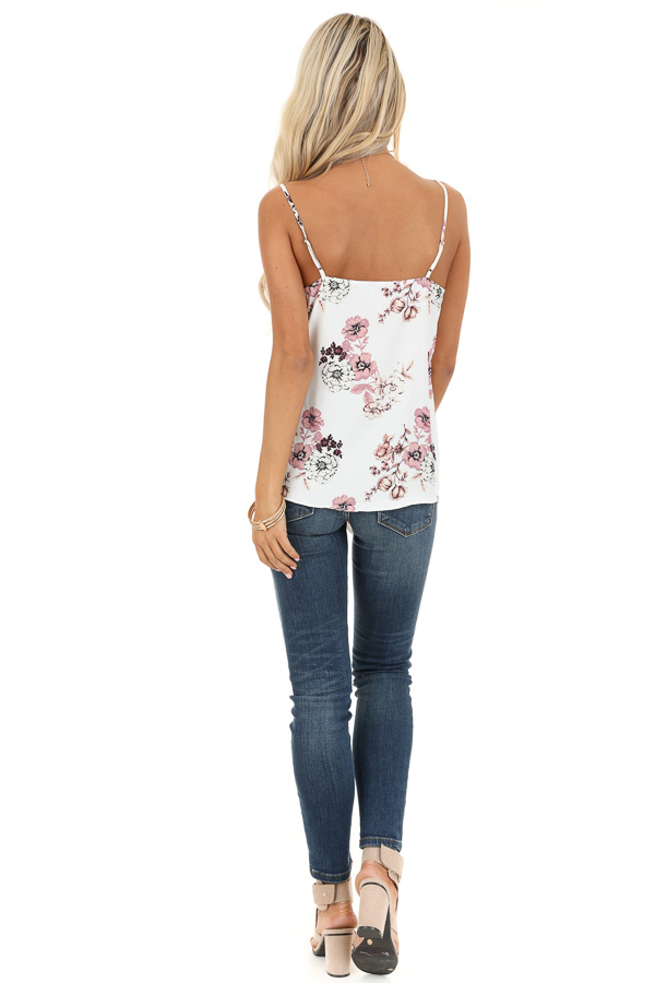 Daisy White Floral Print Tank Top with Buttons and Tie back full body