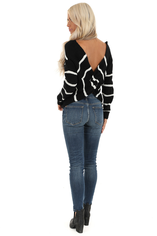 Black and White Striped Sweater Top with Back Twist Detail back full body