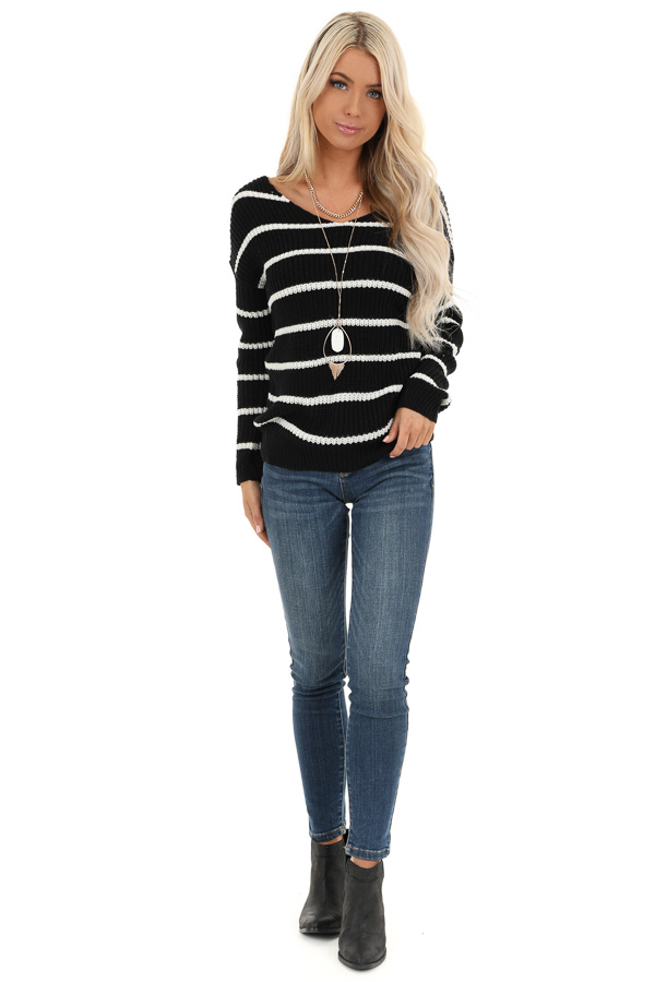 Black and White Striped Sweater Top with Back Twist Detail front full body