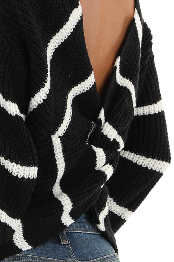 Black and White Striped Sweater Top with Back Twist Detail detail