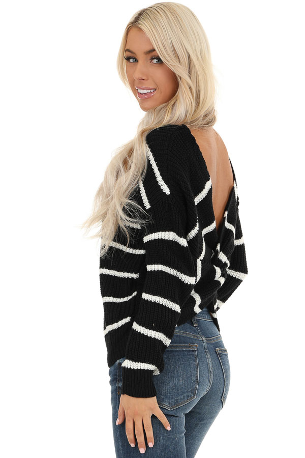 Black and White Striped Sweater Top with Back Twist Detail back side close up