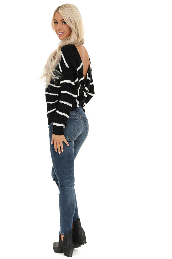 Black and White Striped Sweater Top with Back Twist Detail side full body
