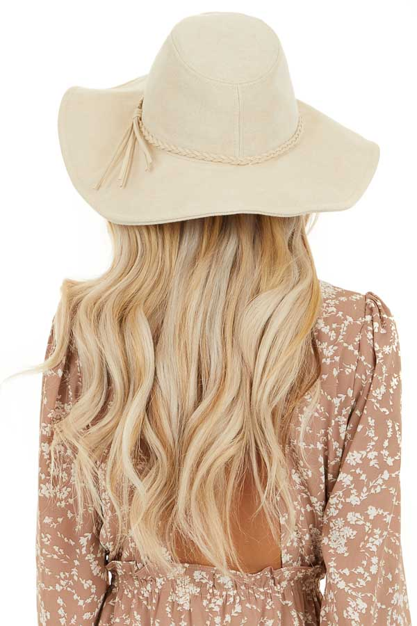 Ivory Faux Suede Wide Brim Hat with Braided Detail back view