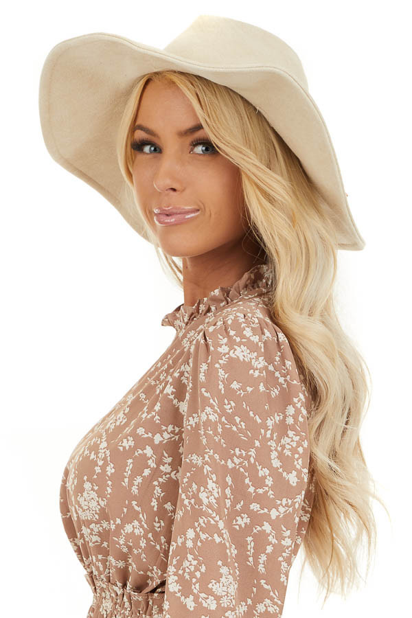 Ivory Faux Suede Wide Brim Hat with Braided Detail side view