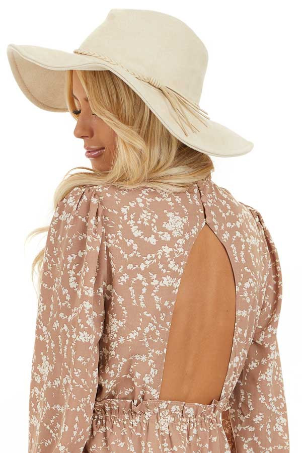 Ivory Faux Suede Wide Brim Hat with Braided Detail back side view