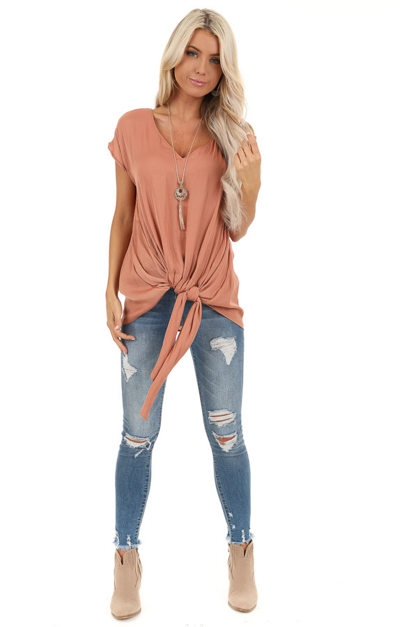 Salmon Silky Short Sleeve V Neck Top with Front Tie Detail front full body