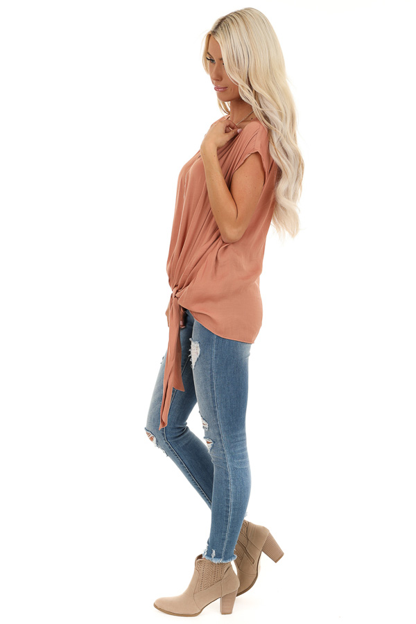 Salmon Silky Short Sleeve V Neck Top with Front Tie Detail side full body