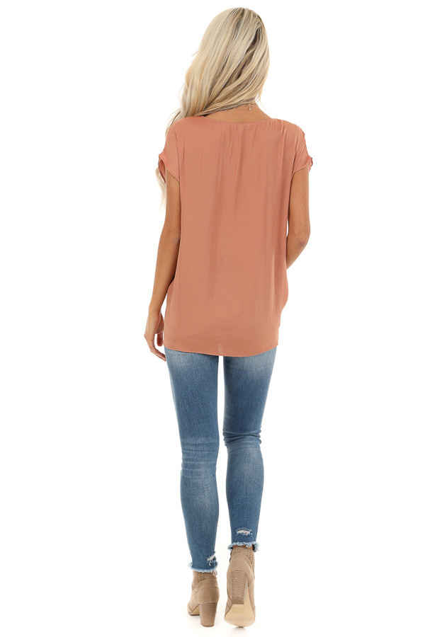 Salmon Silky Short Sleeve V Neck Top with Front Tie Detail back full body