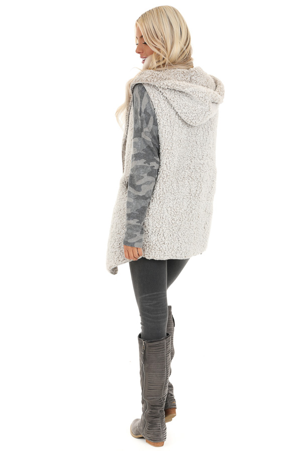 Oatmeal Two Tone Sherpa Vest with Hood and Pockets back full body