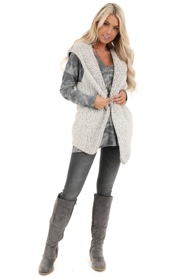 Oatmeal Two Tone Sherpa Vest with Hood and Pockets front full body