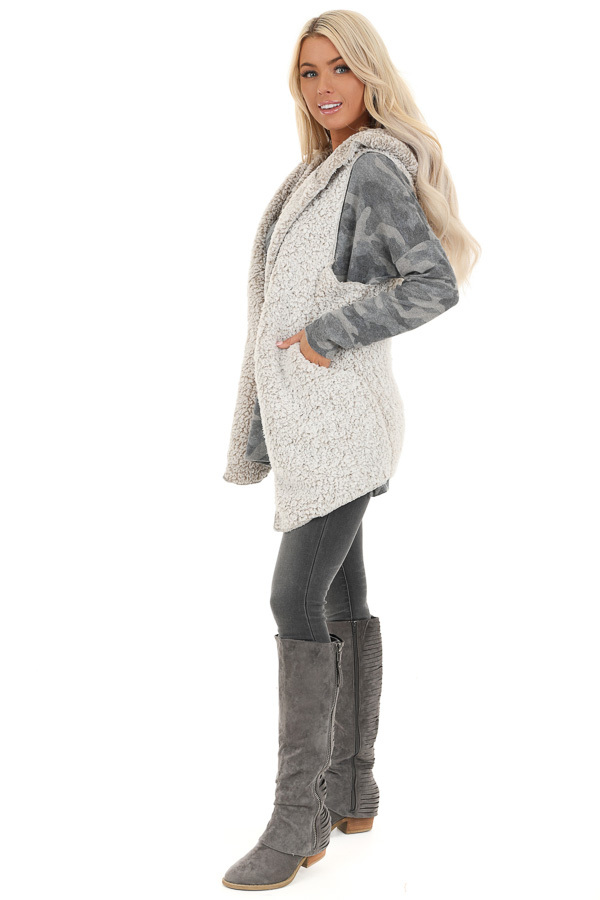Oatmeal Two Tone Sherpa Vest with Hood and Pockets side full body