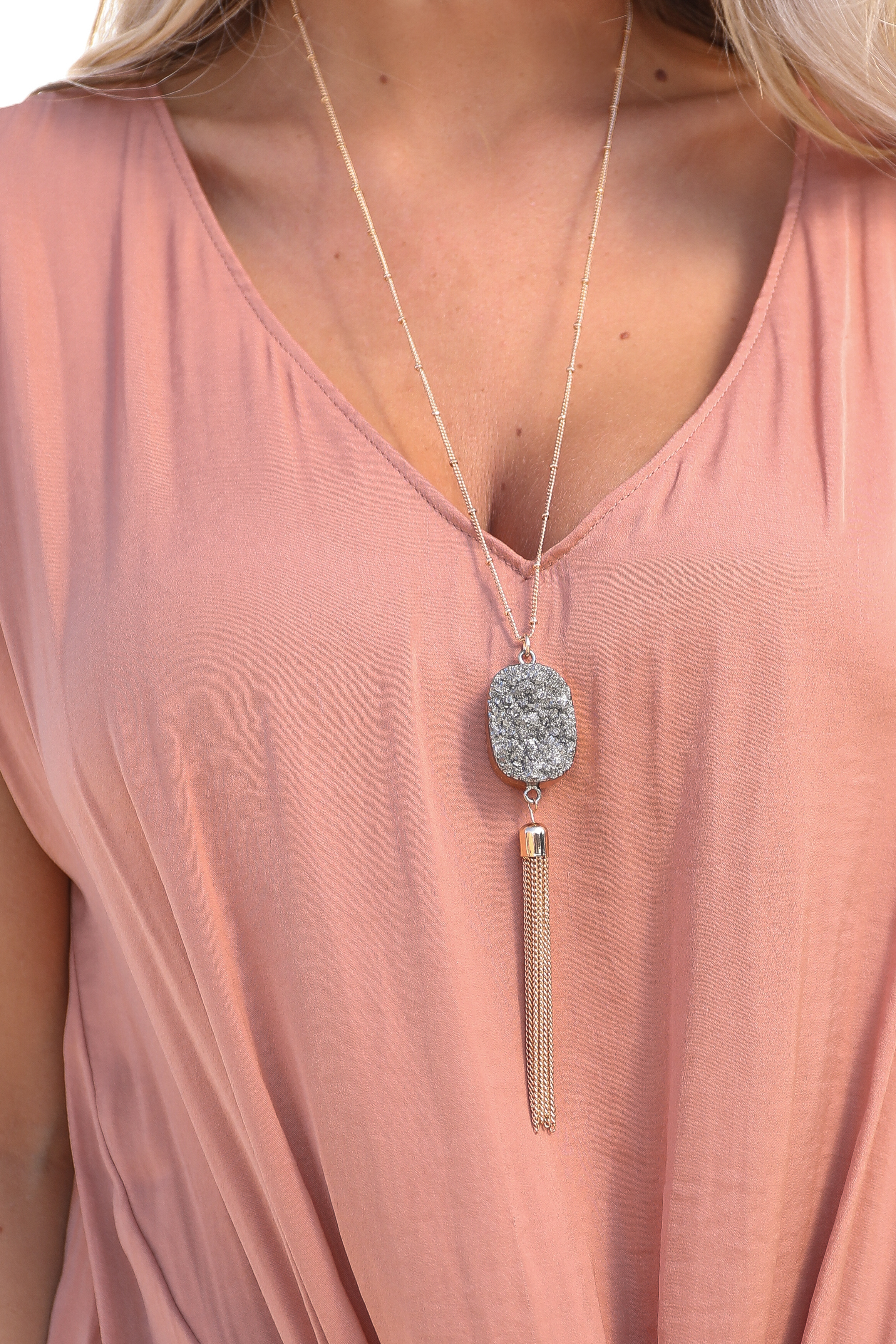 Gold Long Necklace with Druzy Hematite Pendant and Tassel
