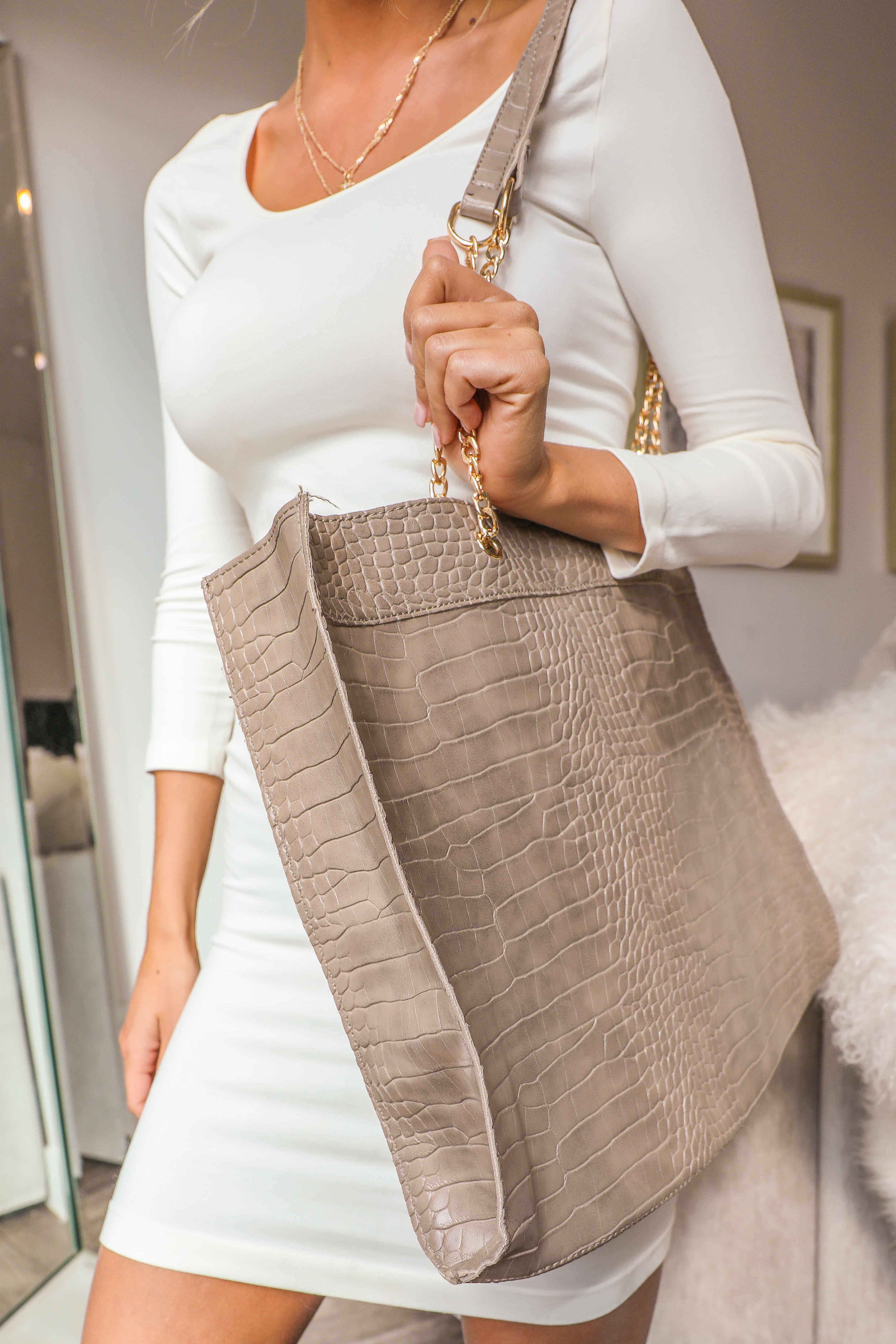 Taupe Snake Textured Tote Bag with Gold Chain Straps