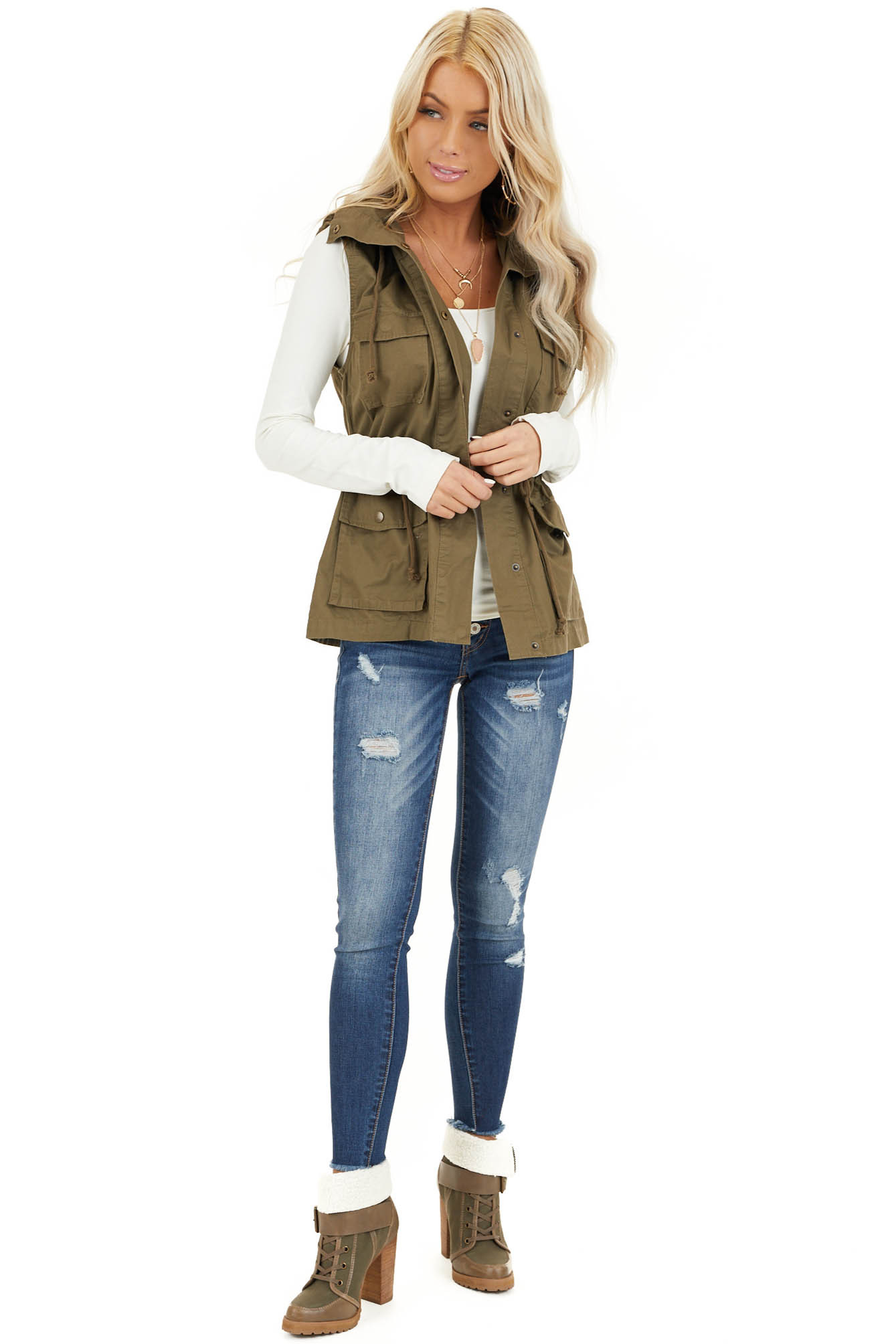 Olive Cargo Vest with Front Pockets and Cinched Waist front full body