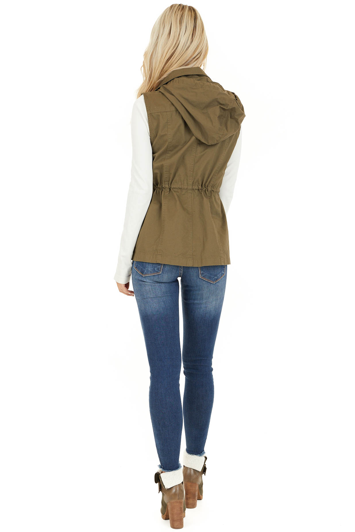 Olive Cargo Vest with Front Pockets and Cinched Waist back full body