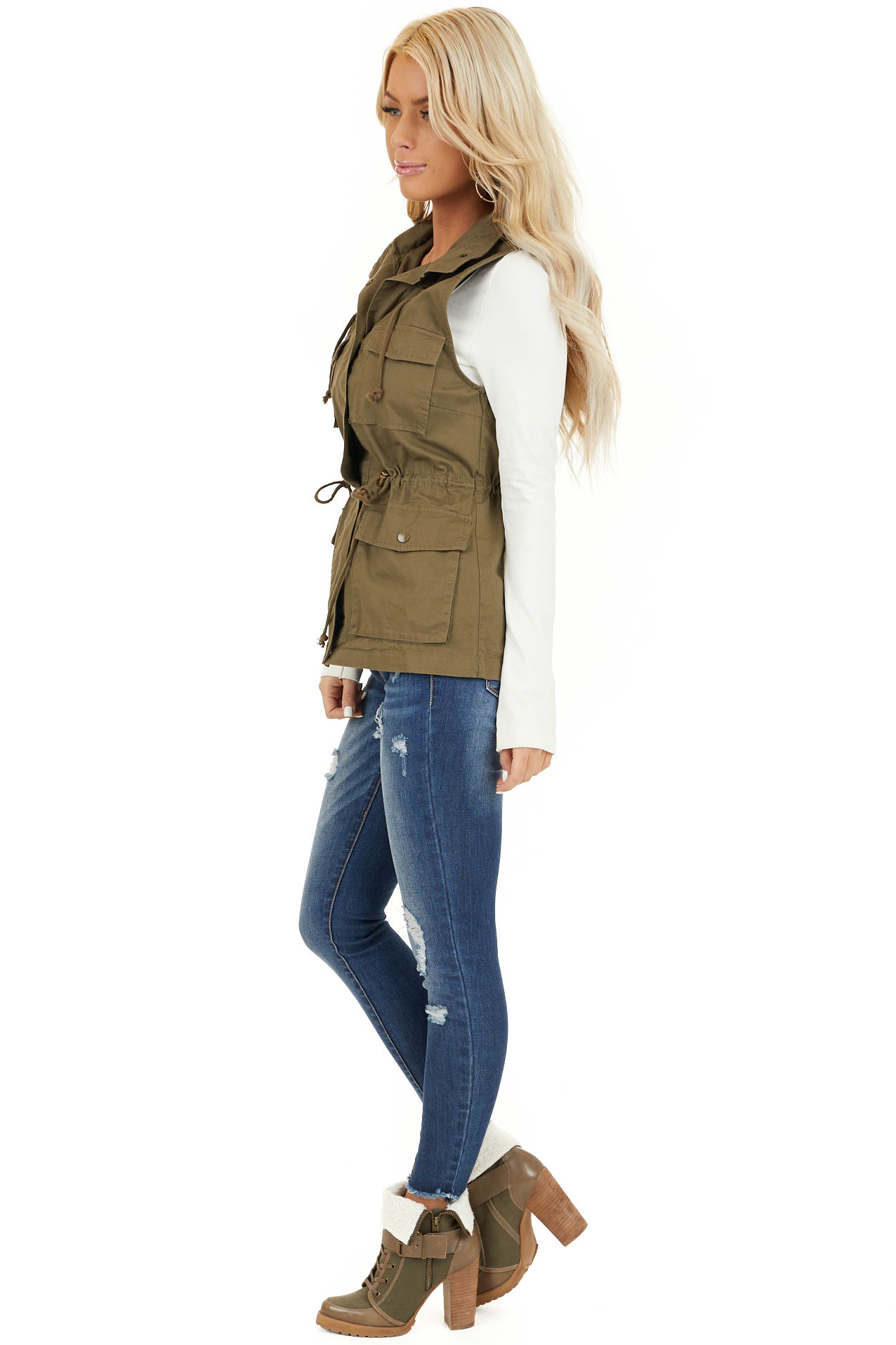 Olive Cargo Vest with Front Pockets and Cinched Waist side full body