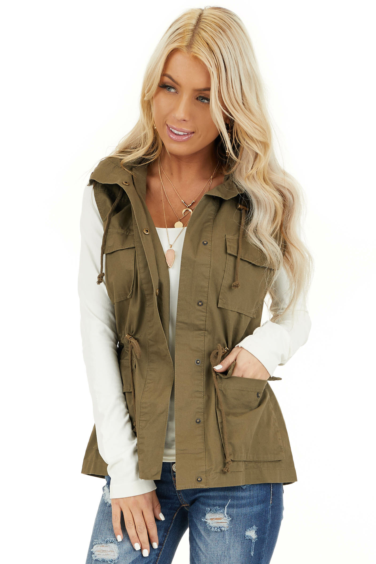 Olive Cargo Vest with Front Pockets and Cinched Waist front close up