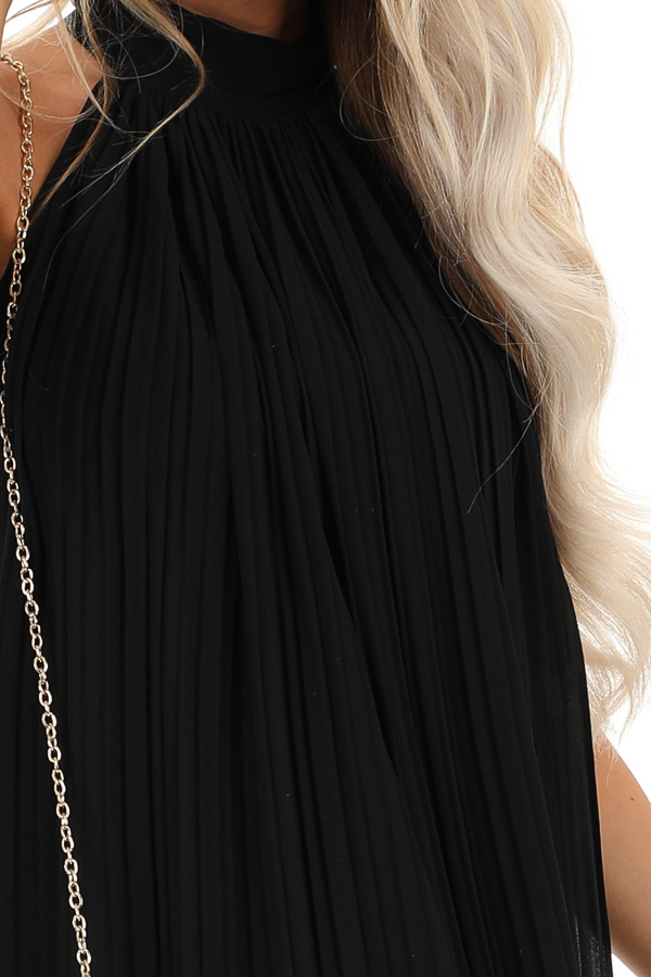 Jet Black Sleeveless Chiffon Mini Dress with Collar Detail detail