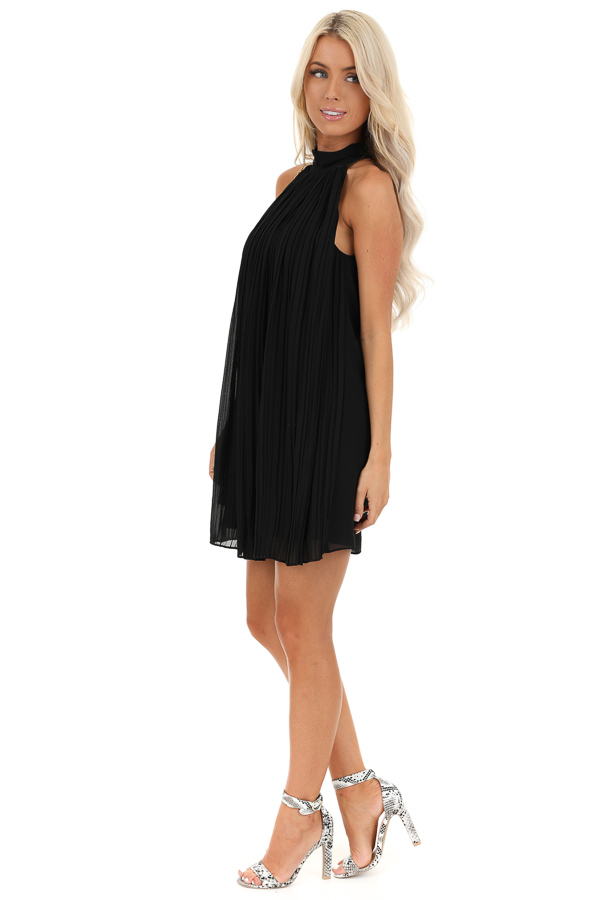 Jet Black Sleeveless Chiffon Mini Dress with Collar Detail side full body
